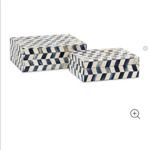 Beach crest Home- 2 piece Marine Blue Bone Box Set